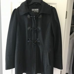 GUESS Wool-blend Hooded Peacoat Jacket